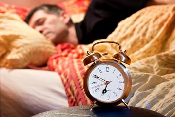 room clock man lazy sleep wake alert
