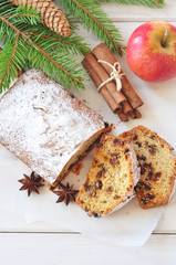 Christmas cake with raisin and spices