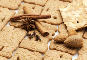 traditional dutch speculaas biscuits and ingredients