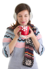 Winter girl with hot beverage