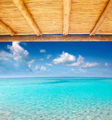 Cane sunroof with tropical perfect beach