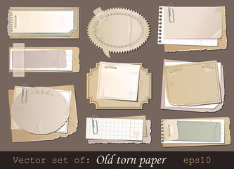 Vector illustration of old torn paper