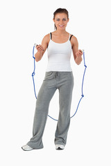 Young woman about to start jump roping
