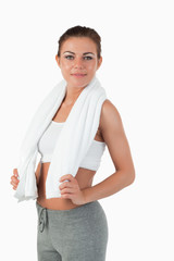 Side view of woman with towel around her neck