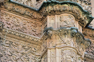Facade of the University of Salamanca with frog on a skull (Cast