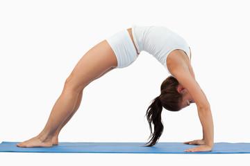 Woman practicing gymnastic