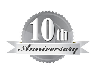 10th anniversary seal illustration design on white
