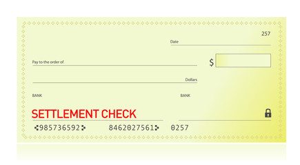 settlement check illustration design over a white background
