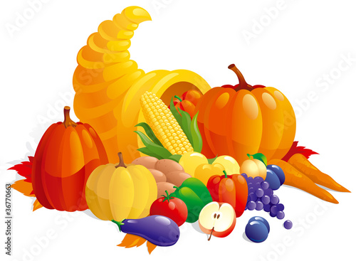 Thanksgiving Cornucopia with fruit, berries  and vegetable.