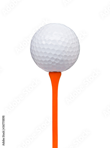 golf ball on tee isolated with clipping path