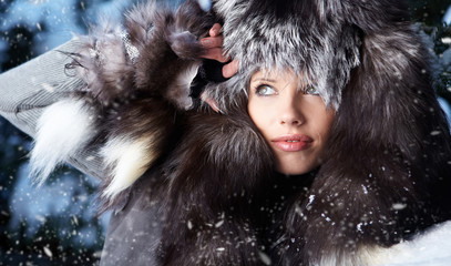 Fashion woman in winter fur