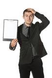 Young anxious businessman holding his head poster