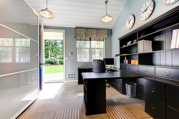 Blue modern home office interior design.