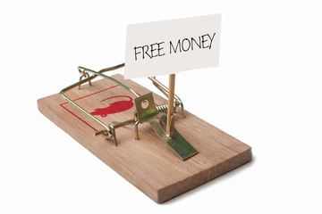 Mousetrap with free money sign