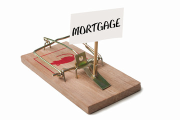 Mousetrap with mortgage sign