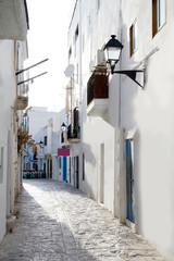 Ibiza downtown white houses narrow street