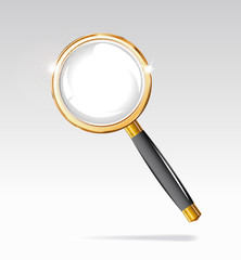 Magnifying glass is in a gold frame.
