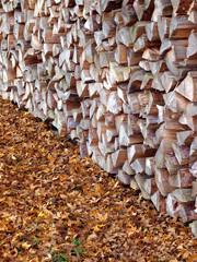 Brennholz im Herbst