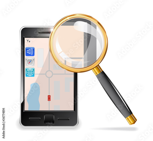 Mobile phone and a magnifying glass.