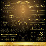 Calligraphic golden design elements
