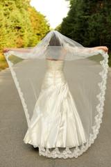 bridal, girl, happy, lifestyle, long, veil, wedding