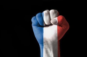 Fist painted in colors of france flag