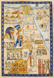 Antique Egypt map drawn on papyrus