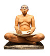 Egyptian scribe's sculpture isolated with clipping path