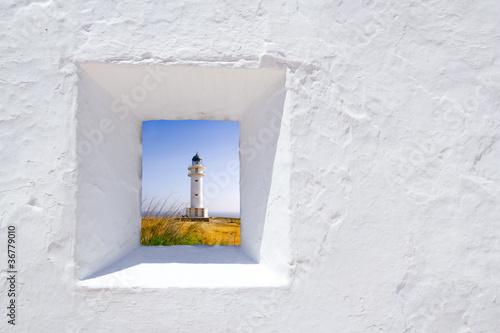 Formentera mediterranean white wall window - 36779010