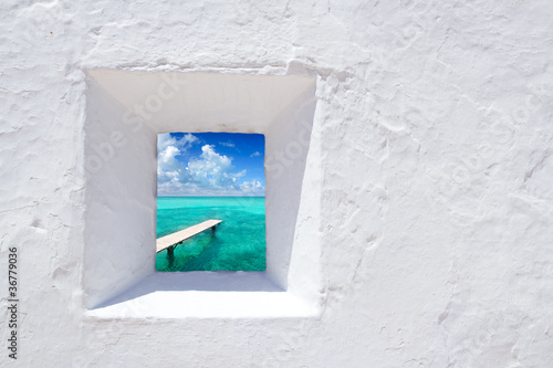 Ibiza mediterranean white wall window