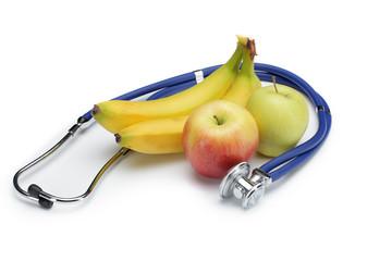 Obst mit Stethoskop