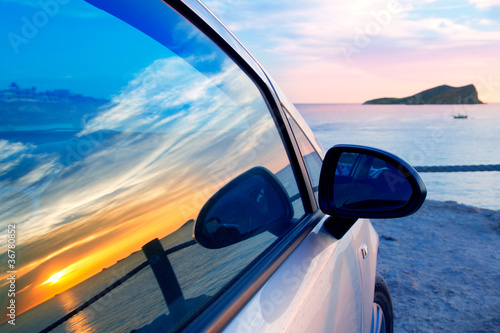 Ibiza cala Conta Conmte in window car glass