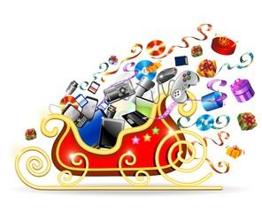 Slitta Natale Tecnologia-Technological Christmas Sleigh-Vector