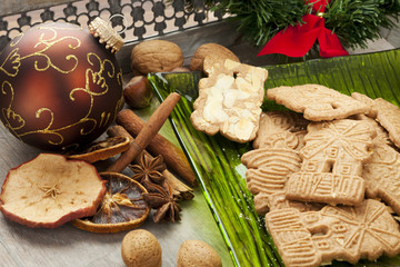 dutch christmas cookies, spices and decoration