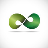 Logo infinite with arrows. Green recycling # Vector poster