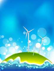 Energy saving concept. Windmills.