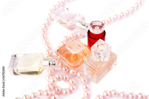 Perfume bottles and necklace