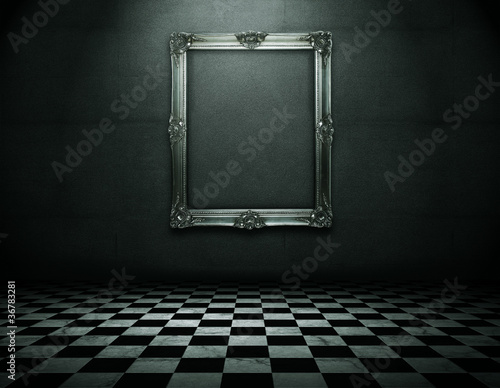 Silver picture frame in runge empty interior with clipping path - 36783281