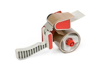 Dispensador de cinta adhesiva en fondo blanco.