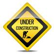 Achtung Warnung Schild Under Construction Bauarbeiter