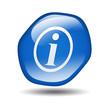 Boton brillante azul hexagonal simbolo informacion