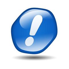 Boton brillante azul hexagonal simbolo atencion