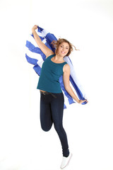 Frau mit Griechenland Flagge
