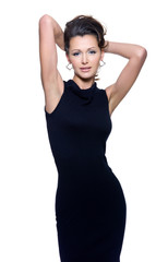 sensuality fashion woman in black dress
