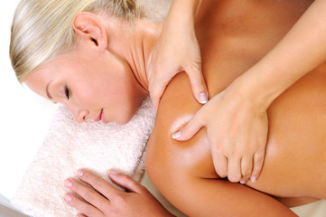 Relaxing woman on massage