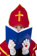 Boy playing Dutch Santa Claus Sinterklaas with book
