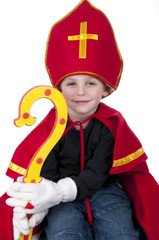 Boy playing Dutch Santa Claus Sinterklaas
