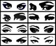 Grunge style eyes set
