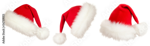 set of three Christmas Santa hats