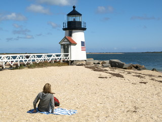 woman relaxing @ Nantucket Lighthouse